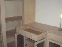 Anbaulowboard mit Schubladen und Glasfüllungstüren in Birke